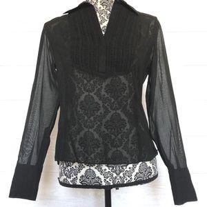 Ann Taylor Shirt Women Extra Small Sheer Button Fr